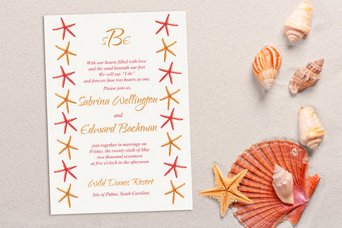Starfish Treasures Beach Wedding Invitation