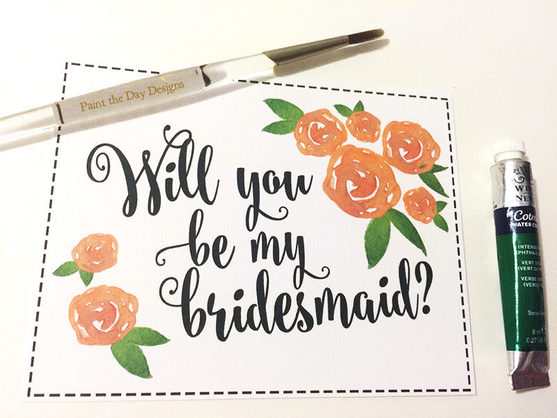 Watercolor Roses - Bridesmaid Gift Card