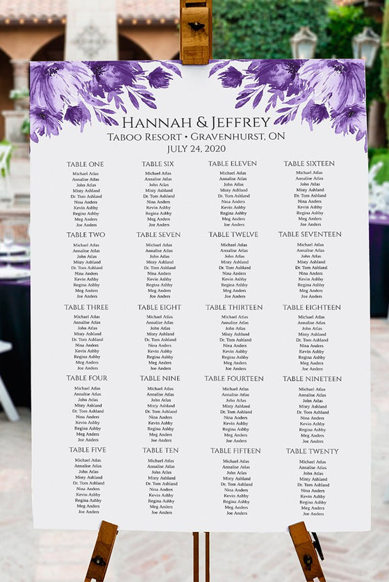 "Seating Chart Template, Table Arrangement, Purple Wedding Reception Table Assignment ""Lavish Blooms"" EDIT ONLINE"