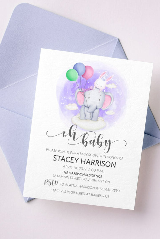Baby Shower Invitation, Oh Baby Shower Invite Template, Elephant Rabbit Balloons, Baby Brunch Printable Invite | Edit in Templett