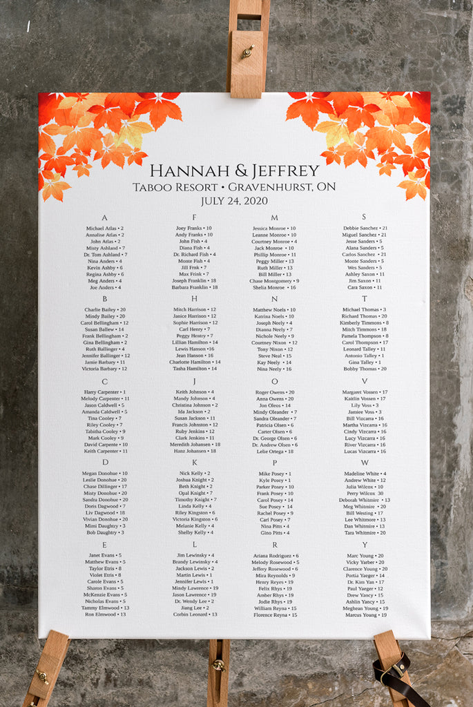 "Fall Seating Chart Template, Table Arrangement, Autumn Wedding Reception Table Assignment ""Fall Leaves"" EDIT ONLINE"