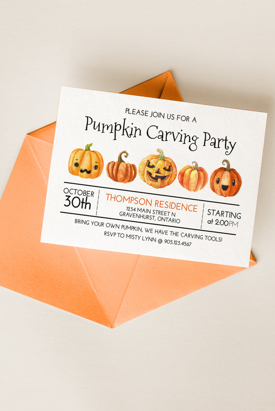 Pumpkin Carving Party Invitation, Halloween Invitation Template, Pumpkin Halloween Printable Invite | Jack o Lantern | Edit in Templett