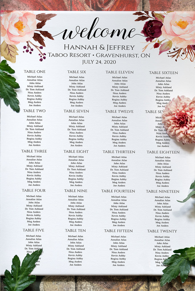 "Seating Chart Template, Table Arrangement, Rustic Wedding Reception Table Assignment ""Marsala"" EDIT ONLINE"
