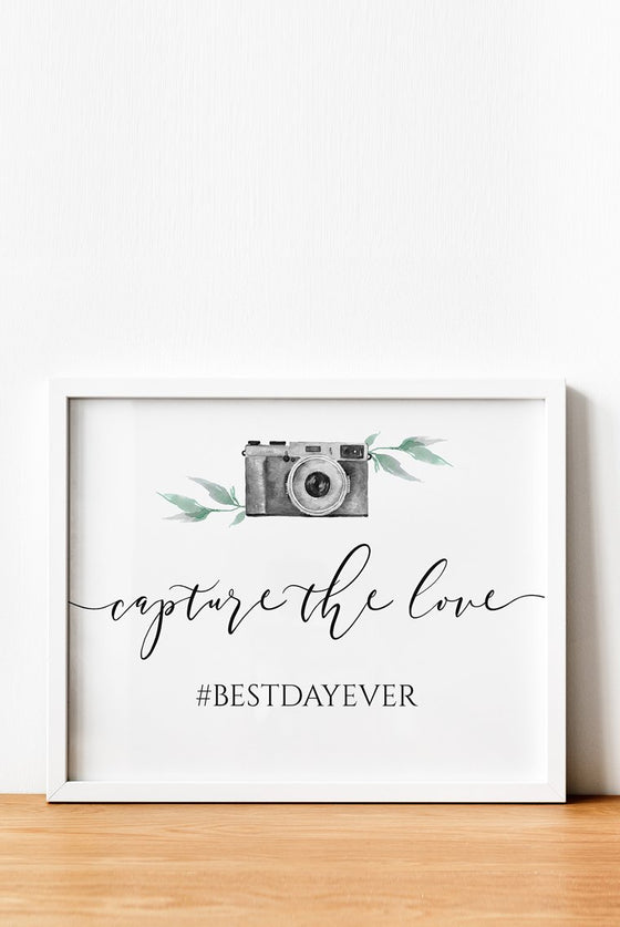 Wedding Hashtag Sign, Capture the Love Wedding Sign Editable PDF, Watercolor Camera Leaves, Social Media Sign 8x10 EDIT ONLINE
