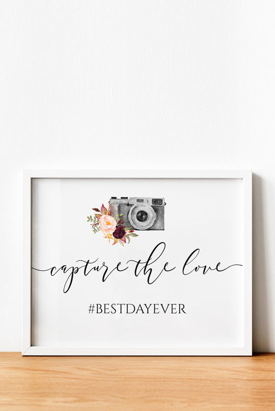 Wedding Hashtag Sign, Capture the Love Wedding Sign Editable PDF, Watercolor Camera Marsala, 8x10 EDIT ONLINE