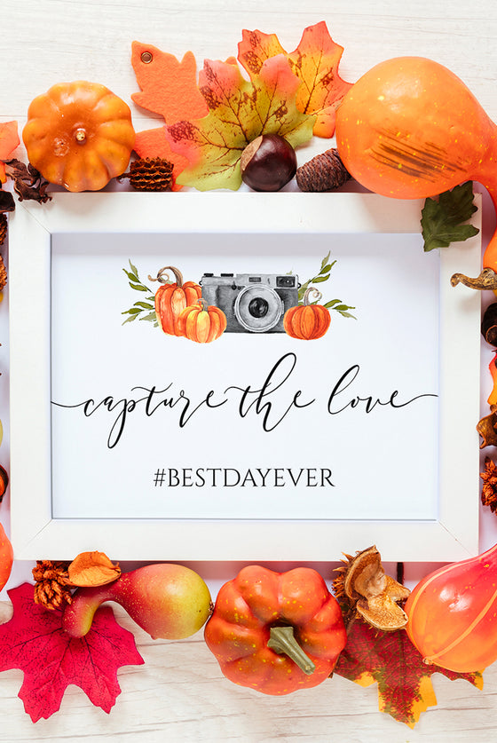 Fall Wedding Hashtag Sign, Capture the Love Wedding Sign Editable PDF, Watercolor Camera Pumpkins, Social Media Sign 8x10 EDIT ONLINE
