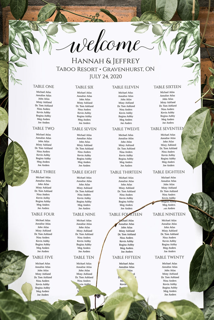 "Seating Chart Template, Table Arrangement, Rustic Wedding Reception Table Assignment ""Greenery"" EDIT ONLINE"