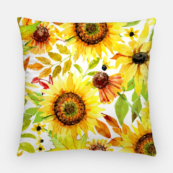"Throw Pillow Case - Watercolor Throw Pillow Cover - Home Decor Cottage Decor ""Autumn Sunflowers"" Watercolor Pillow Case 16x16 