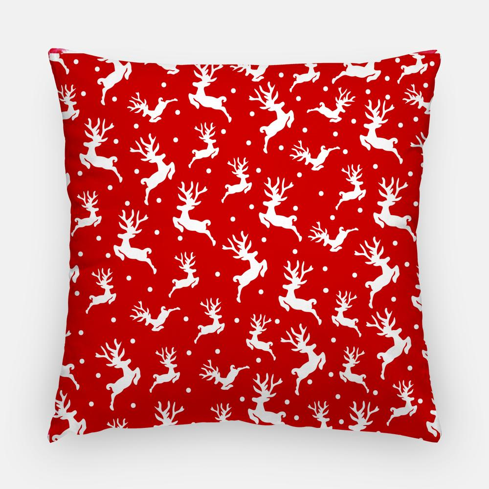 "Christmas Throw Pillow Case - Watercolor Throw Pillow Cover - Home Decor Cottage Decor ""Red Reindeer"" Winter Pillow Case 16x16 