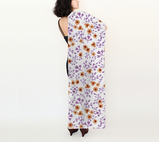 "Prairie Flowers - Watercolor Floral Purple - 13"" x 58.5"" Long Scarf"