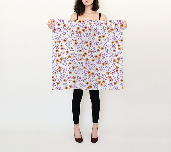 Prairie Flowers - Watercolor Floral Purple - 26x26 Square Scarf