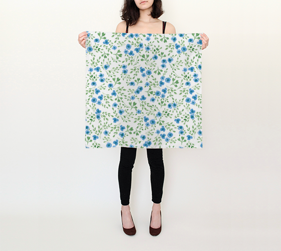 Prairie Flowers - Watercolor Floral Blue - 26x26 Square Scarf