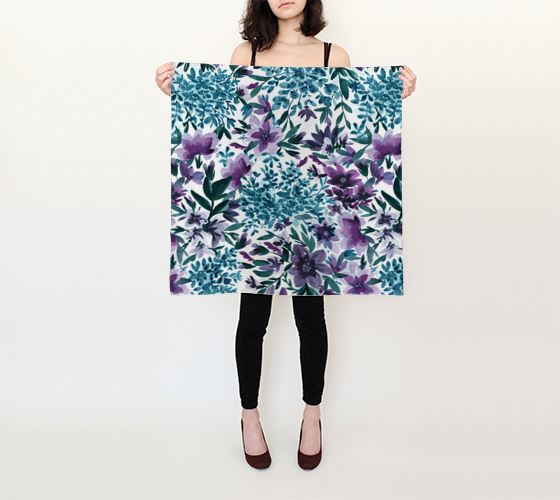 Moonlight Garden - Watercolor Floral - 26x26 Square Scarf