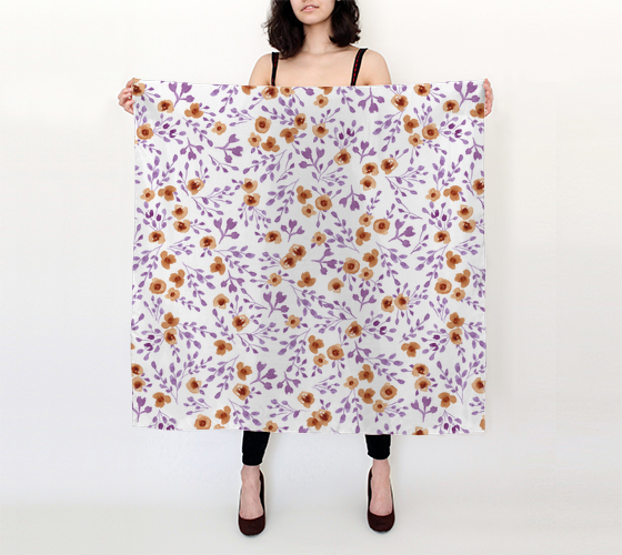 Prairie Flowers - Watercolor Floral Purple - 36x36 Big Square Scarf