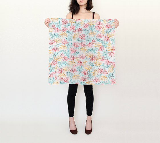 Watercolor Coral Reef Branch - 26x26 Square Scarf