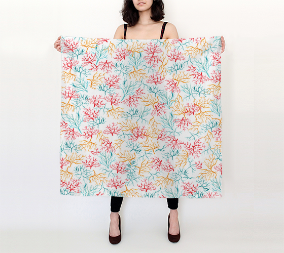 Watercolor Coral Reef Branch - 36x36 Big Square Scarf