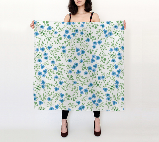 Prairie Flowers - Watercolor Floral Blue - 36x36 Big Square Scarf