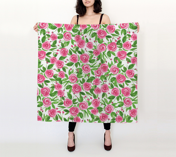 """Sweet Roses"" Watercolor Roses Pink - 36x36 Square Scarf"