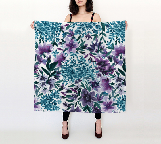 Moonlight Garden - Watercolor Floral - 36x36 Big Square Scarf