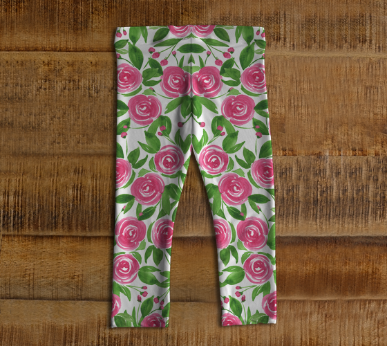 Sweet Roses - Watercolor Floral Pink Leggings