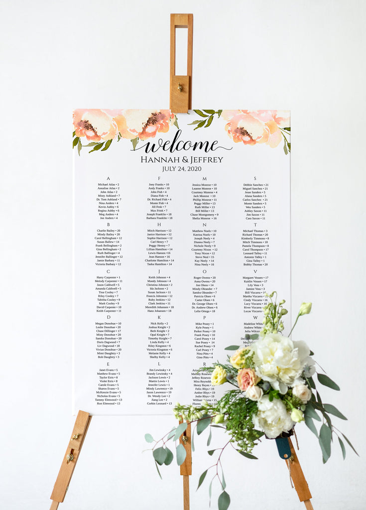 "Seating Chart Template, Table Arrangement, Peach Wedding Reception Table Assignment ""Peach Peonies"" EDIT ONLINE"