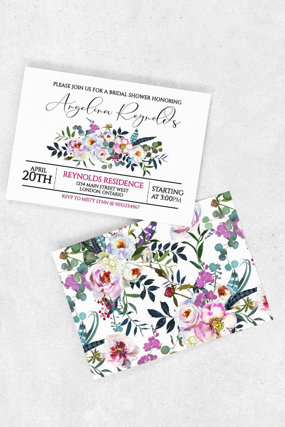 Bridal Shower Invitation Template, Wedding Shower Invite, Wedding Printable, Bridal Brunch | Boho Blossoms Double Sided | Edit Online