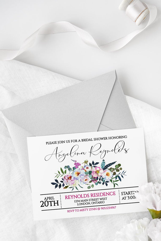 Bridal Shower Invitation Template, Wedding Shower Invite, Wedding Printable, Bridal Brunch | Boho Blossoms | Edit Online