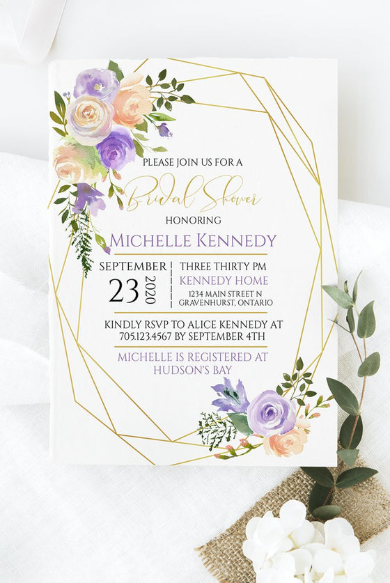 Bridal Shower Invitation Template, Wedding Shower Invite, Wedding Printable, Bridal Brunch | Carolina Gold Frame | Edit Online