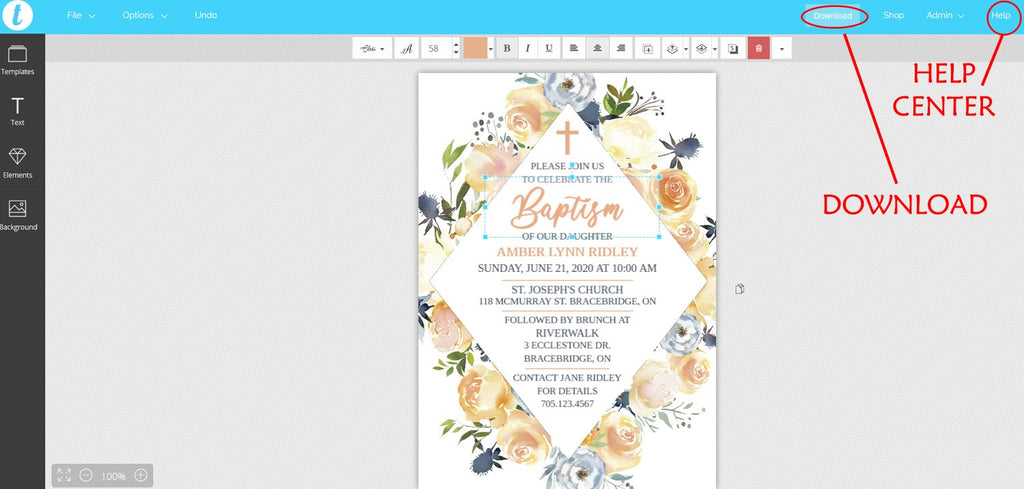 Baptism Invitation Template, First Communion, Brunch Invitation Printable, Holy Communion | Rose and Thistle | Edit Online