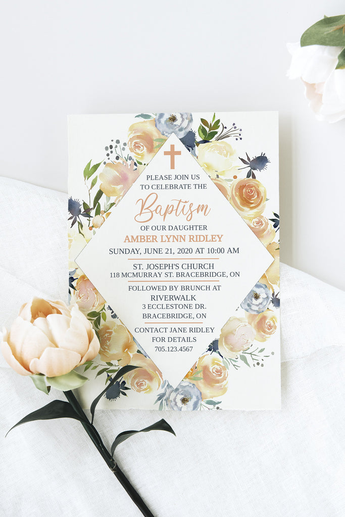 First Communion Printable, Baptism Invitation Template, Brunch Invitation, Holy Communion | Rose and Thistle Double Sided | Edit Online