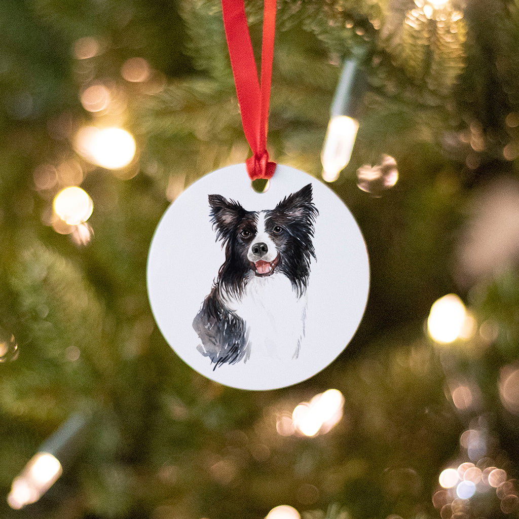 Border Collie Ornament (Round), Dog Christmas Ornament, Dog Lover