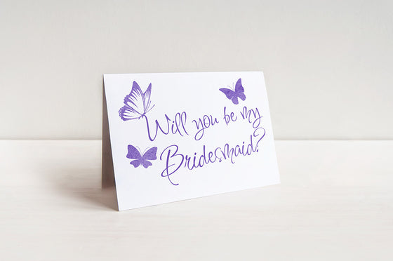 Watercolor Butterflies Bridesmaid Proposal Card
