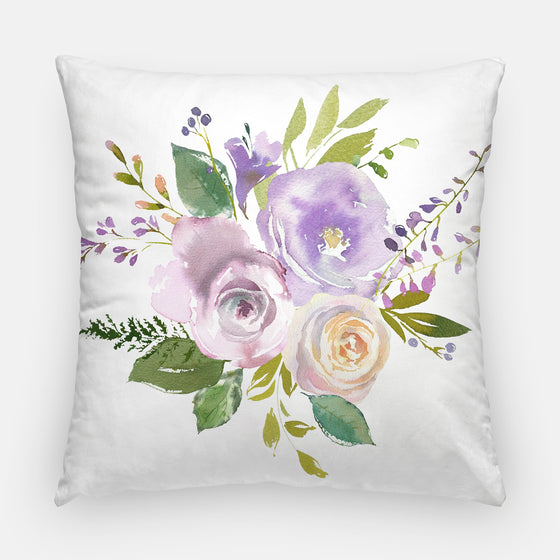 "Throw Pillow Case - Watercolor Throw Pillow Cover - Home Decor Cottage Decor Purple ""Carolina"" Watercolor Pillow Case Floral 16x16 