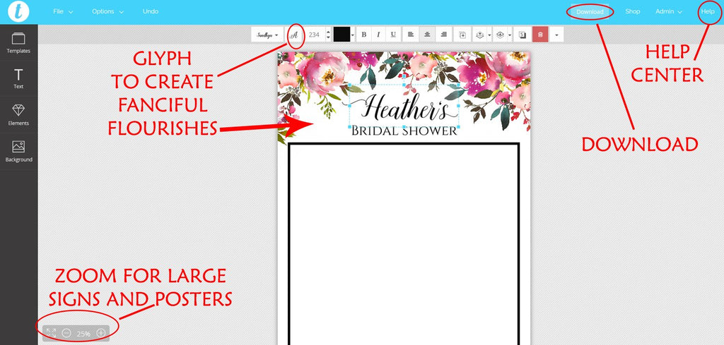 "Floral Bridal Shower Photo Booth Frame Printable, Bridal Shower Printable, Photo Booth Prop Printable ""Fresh Bouquet"" Photobooth EDIT ONLINE"