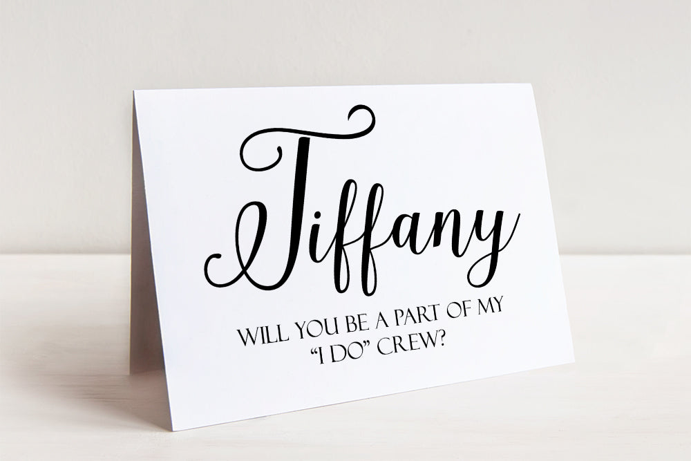 I Do Crew Card Bridesmaid Proposal Card, Will You Be My Bridesmaid Card, Bridal Party Wedding Gift Maid of Honor Bridesmaid Gift Flower Girl