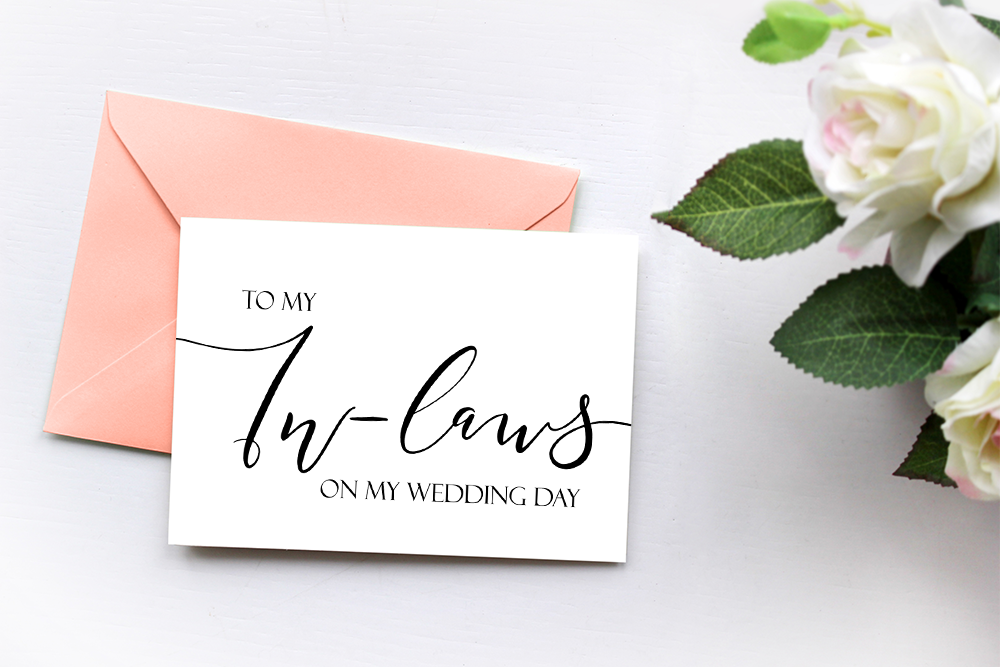 To My In Laws On My Wedding Day, Wedding Thank You Card, Mother In Law Card, Father In Law Card, In Laws Gift Card, Parents of Bride Groom