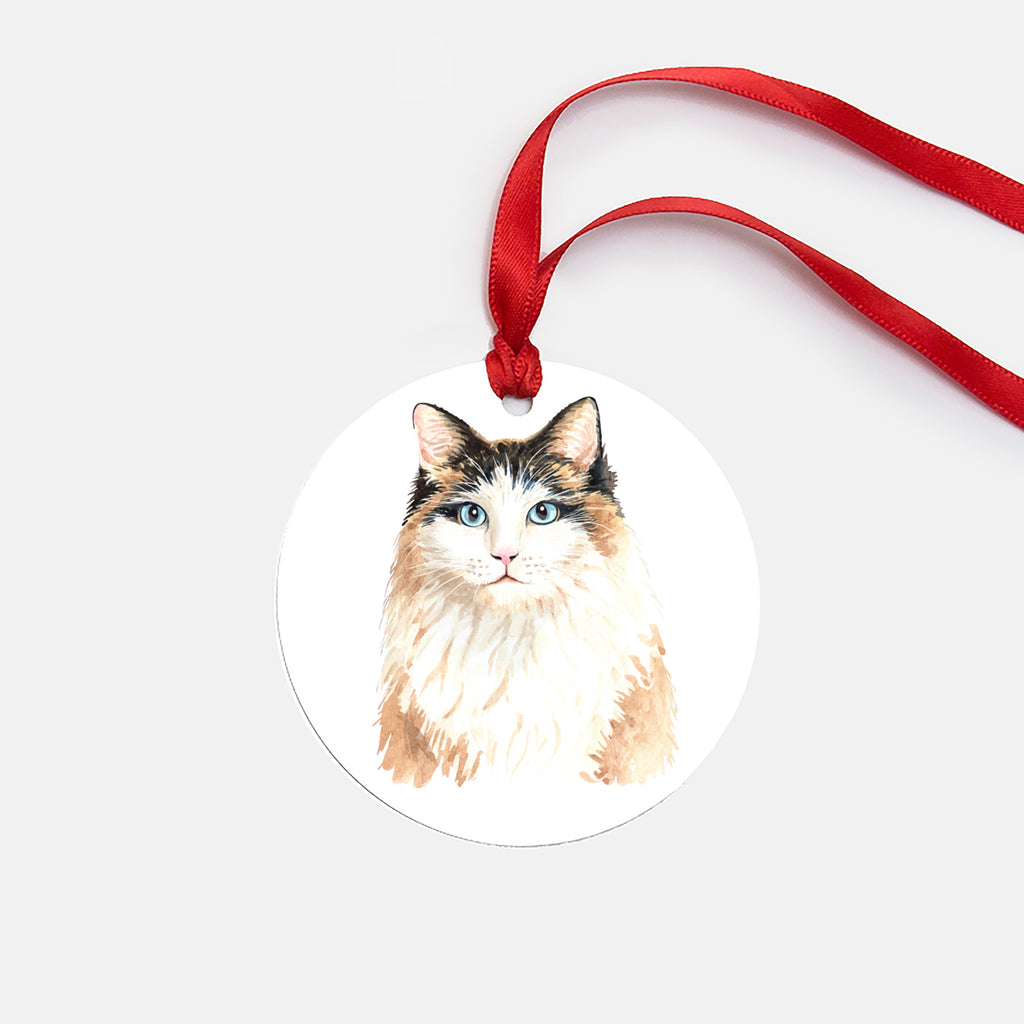 Elegant Cat Ornament (Round), Cat Christmas Ornament, Cat Lover