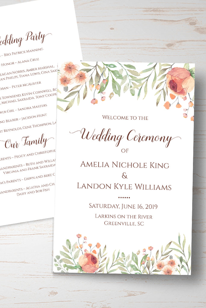 Wedding Template, Fold Over Wedding Program Template, Peach Floral Wedding Printable Template DIY, Half Fold Program Booklet