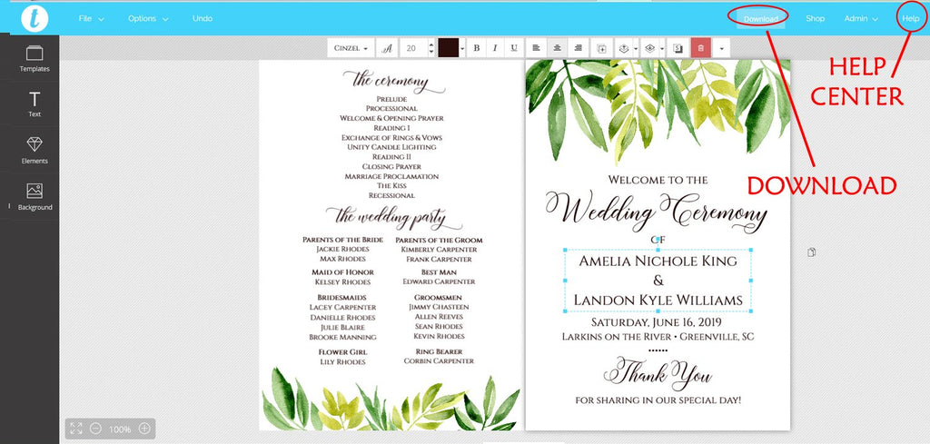"Wedding Program Fan Template, Printable Program Fan, Printable Wedding Fan, Wedding Programs ""Leafy Garden"" Order of Ceremony Program"