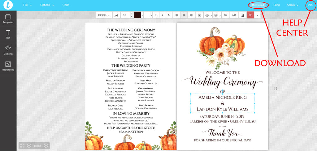 Rustica Pumpkins Wedding Program Fan Template