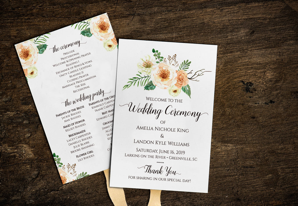 Wedding Program Template, Country Wedding Program Fan, DiY Printable Wedding Fan, Peach Wedding | Rustica | Edit Online Wedding Program Template, Country Wedding Program Fan, DiY Printable Wedding Fan, Peach Wedding | Rustica | Edit Online