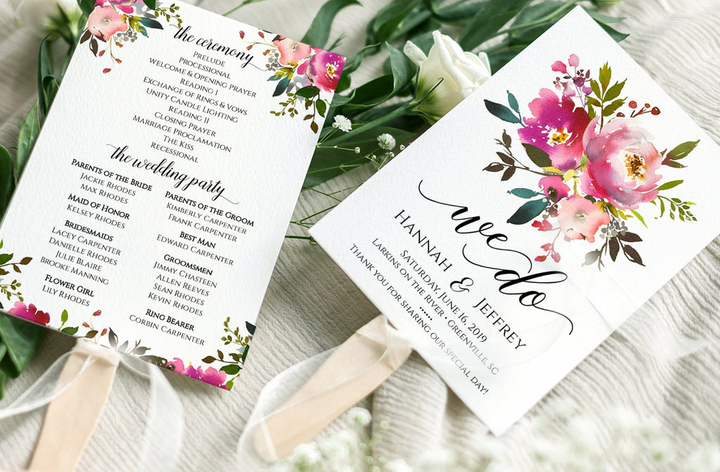 Floral Wedding Program Template, Wedding Program Fan, DiY Printable Wedding Fan, We Do Program | Fresh Bouquet | Edit Online