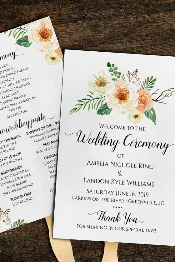 Wedding Program Template, Country Wedding Program Fan, DiY Printable Wedding Fan, Peach Wedding | Rustica | Edit Online