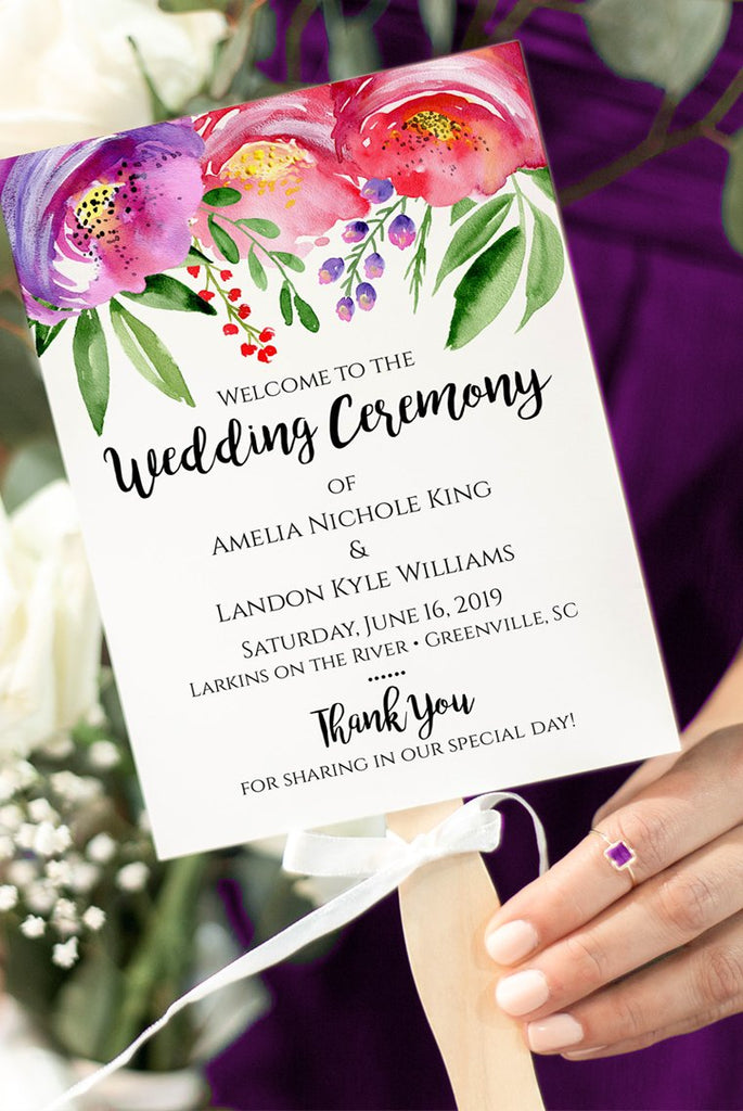 "Floral Wedding Program Fan, Printable Program Fan Template, Printable Wedding Fan ""Vibrant Poppy"" Wedding Programs"