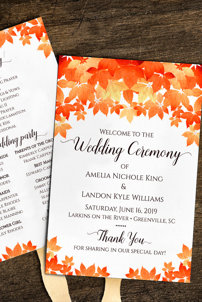 Fall Wedding Program Template, Autumn Wedding Program Fan, DiY Printable Wedding Fan, DiY Wedding | Fall Leaves