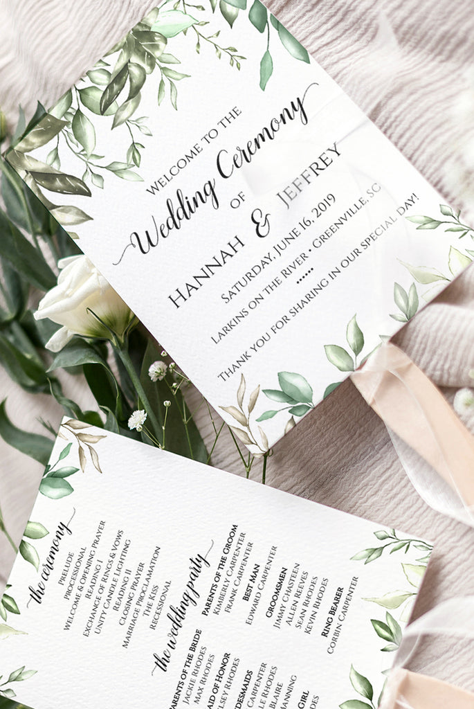 Greenery Wedding Program Fan, Wedding Template, Printable Program Fan Template, Order of Ceremony Program, Printable Wedding Fan Timeline