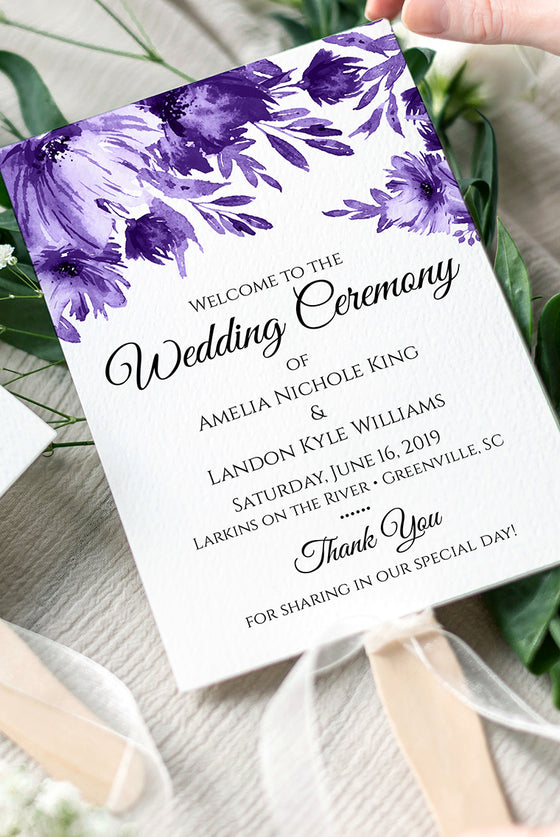 "Floral Wedding Program Fan, Printable Program Fan Template, Printable Wedding Fan ""Lavish Blooms"" Purple Wedding Programs - EDIT ONLINE"