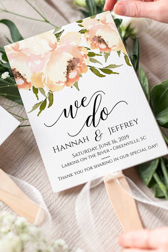 Floral Wedding Program Fan, Printable Program Fan Template, Peach Peonies Wedding Fan, DIY Printable Wedding Fan, Peony Wedding
