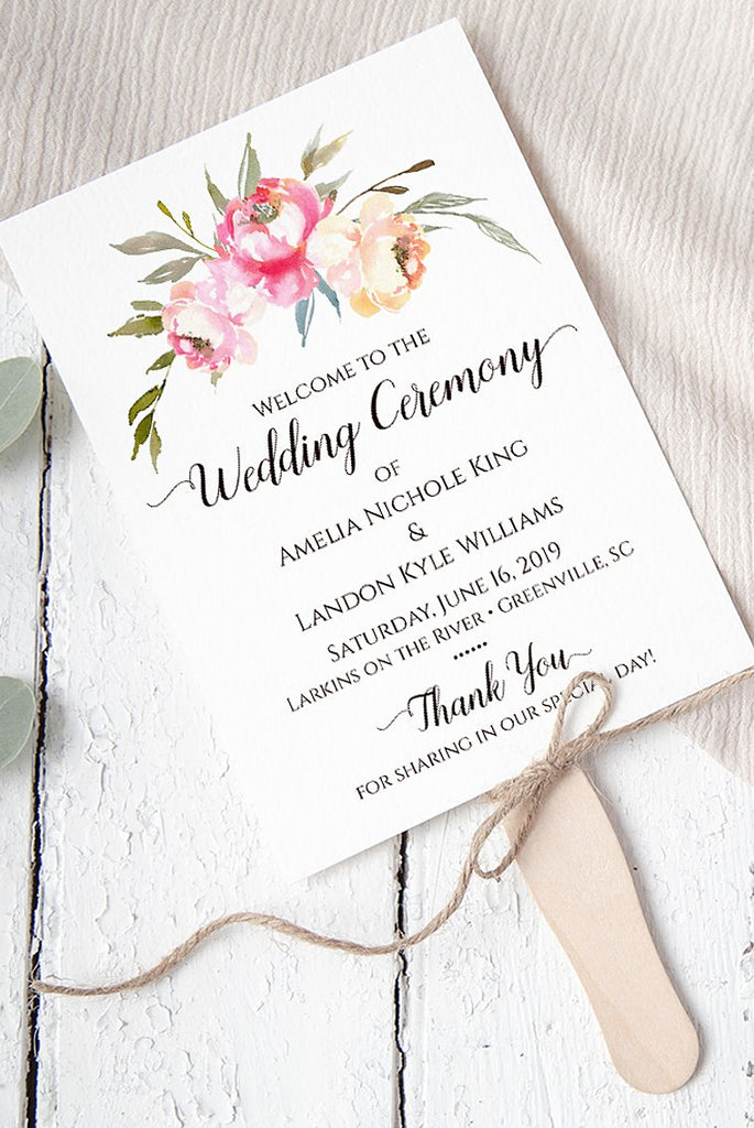 "Wedding Program Fan Template, Printable Program Fan ""Rustic Peony"" Order of Ceremony Program, Printable Wedding Fan, Floral Wedding Programs"