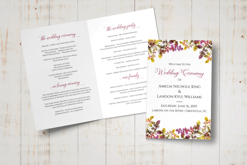 "Fold Over Wedding Program Template, Fall Wedding Printable Template, Half Fold Program ""Autumn Wine"" Wedding DIY Template, EDIT ONLINE"